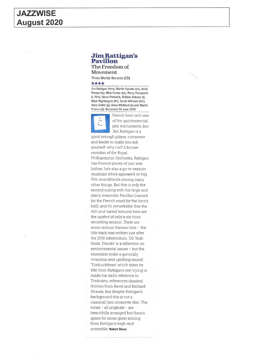 Jazzwise August 2020 review The Freedom of Movement